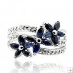 Genuine Nature Sapphire 925 Sterling Silver White Gold Plating LUXURY Ring