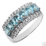 Genuine Classic 2.6ct Stunning Blue Topaz CZ Diamonds 925 Sterling Silver 18K White Gold Plating Luxury Cluster Setting Ring